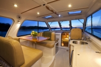 Interiors onboard Back Cove 34' in Portland, Maine.